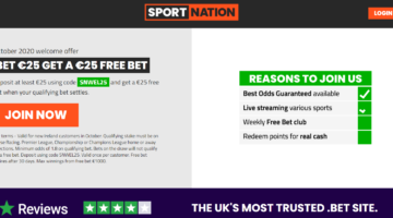 Bet €25 with SportNation and get €25 Free Bet